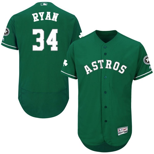 Men's Majestic Houston Astros #34 Nolan Ryan Green Celtic Flexbase Authentic Collection MLB Jersey