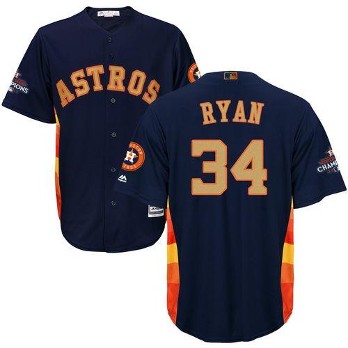Men's Majestic Houston Astros #34 Nolan Ryan Replica Navy Blue Alternate 2018 Gold Program Cool Base MLB Jersey