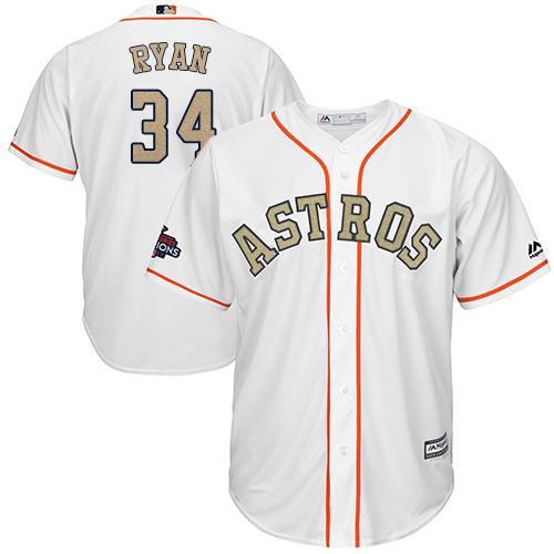 Men's Majestic Houston Astros #34 Nolan Ryan Replica White 2018 Gold Program Cool Base MLB Jersey