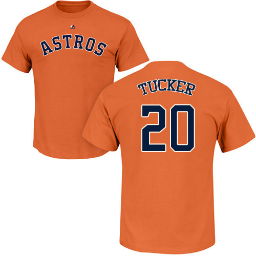 MLB Nike Houston Astros #20 Preston Tucker Orange Name & Number T-Shirt