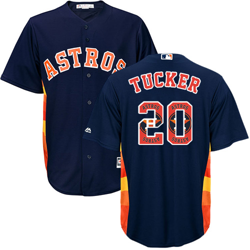 Men's Majestic Houston Astros #20 Preston Tucker Authentic Navy Blue Team Logo Fashion Cool Base MLB Jersey
