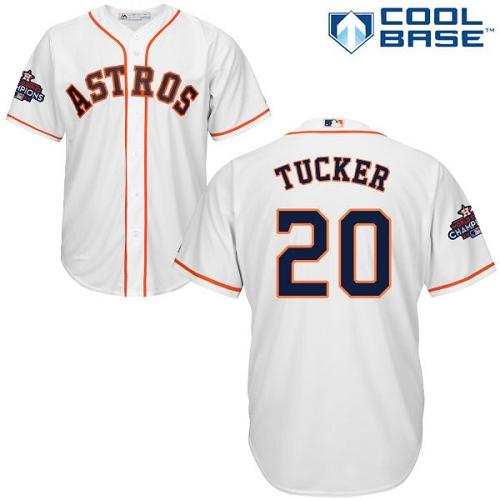 Men's Majestic Houston Astros #20 Preston Tucker Replica White Home 2017 World Series Champions Cool Base MLB Jersey