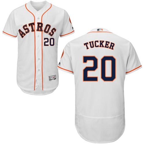 Men's Majestic Houston Astros #20 Preston Tucker White Home Flex Base Authentic Collection MLB Jersey