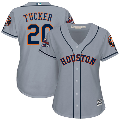 Women's Majestic Houston Astros #20 Preston Tucker Authentic Grey Road 2017 World Series Champions Cool Base MLB Jersey