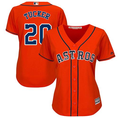Women's Majestic Houston Astros #20 Preston Tucker Authentic Orange Alternate Cool Base MLB Jersey