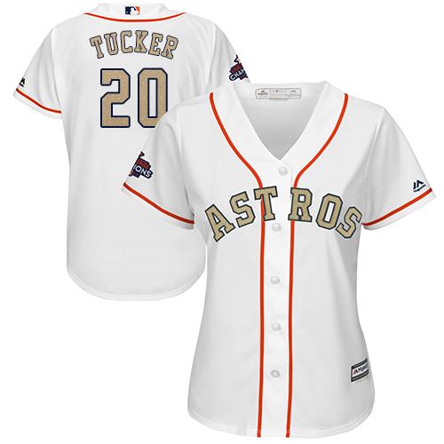 Women's Majestic Houston Astros #20 Preston Tucker Authentic White 2018 Gold Program Cool Base MLB Jersey