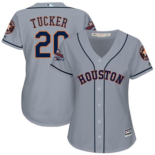 Women's Majestic Houston Astros #20 Preston Tucker Replica Grey Road 2017 World Series Champions Cool Base MLB Jersey