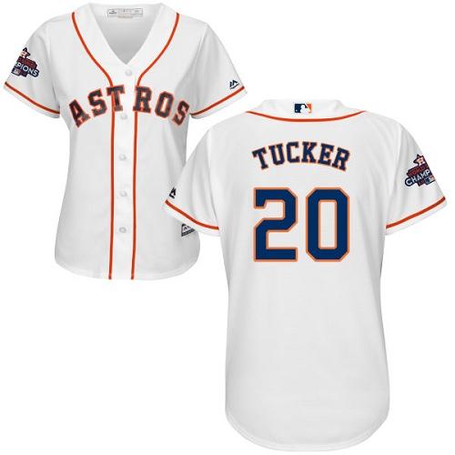 Women's Majestic Houston Astros #20 Preston Tucker Replica White Home 2017 World Series Champions Cool Base MLB Jersey