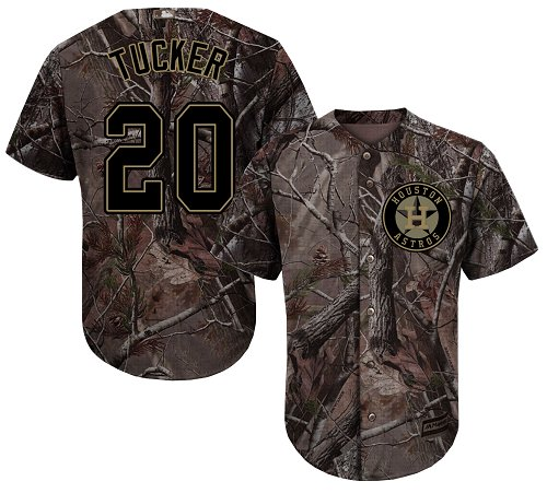 Youth Majestic Houston Astros #20 Preston Tucker Authentic Camo Realtree Collection Flex Base MLB Jersey