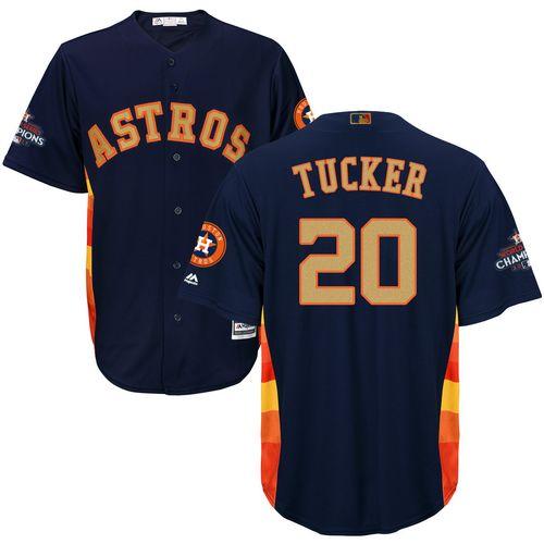 Youth Majestic Houston Astros #20 Preston Tucker Authentic Navy Blue Alternate 2018 Gold Program Cool Base MLB Jersey