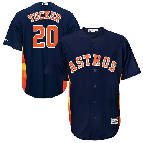 Youth Majestic Houston Astros #20 Preston Tucker Authentic Navy Blue Alternate Cool Base MLB Jersey