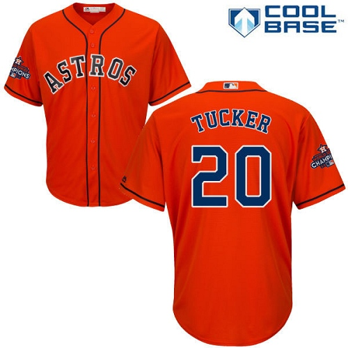 Youth Majestic Houston Astros #20 Preston Tucker Authentic Orange Alternate 2017 World Series Champions Cool Base MLB Jersey