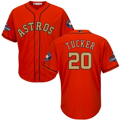 Youth Majestic Houston Astros #20 Preston Tucker Authentic Orange Alternate 2018 Gold Program Cool Base MLB Jersey