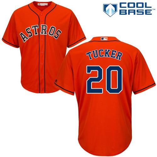 Youth Majestic Houston Astros #20 Preston Tucker Authentic Orange Alternate Cool Base MLB Jersey