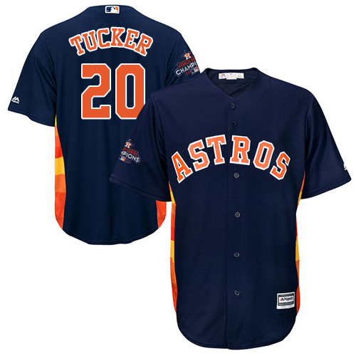 Youth Majestic Houston Astros #20 Preston Tucker Replica Navy Blue Alternate 2017 World Series Champions Cool Base MLB Jersey