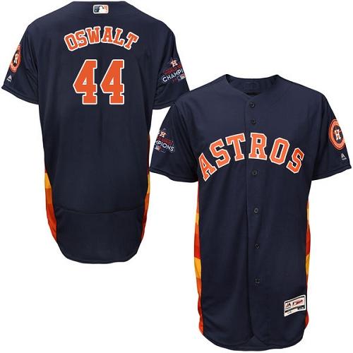 Men's Majestic Houston Astros #44 Roy Oswalt Authentic Navy Blue Alternate 2017 World Series Champions Flex Base MLB Jersey