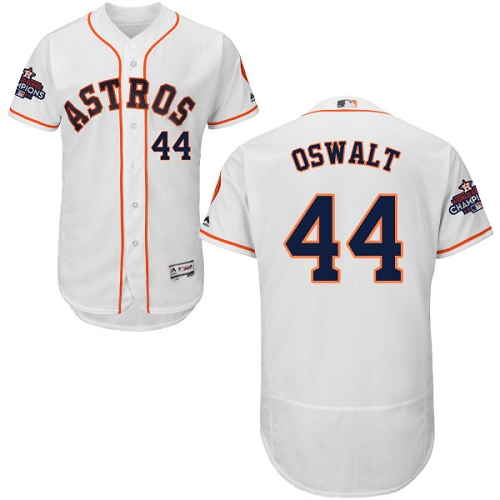 Men's Majestic Houston Astros #44 Roy Oswalt Authentic White Home 2017 World Series Champions Flex Base MLB Jersey