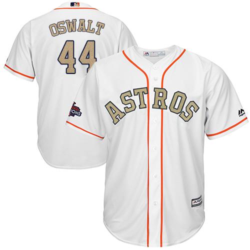 Men's Majestic Houston Astros #44 Roy Oswalt Replica White 2018 Gold Program Cool Base MLB Jersey