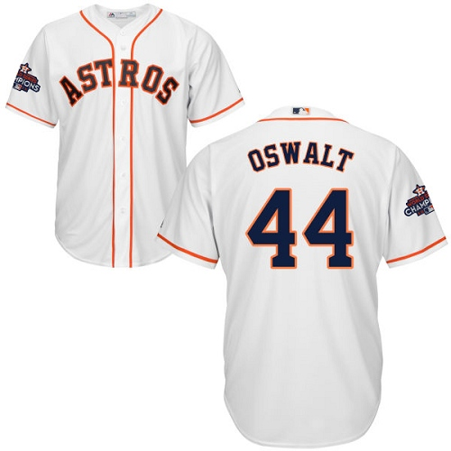 Men's Majestic Houston Astros #44 Roy Oswalt Replica White Home 2017 World Series Champions Cool Base MLB Jersey