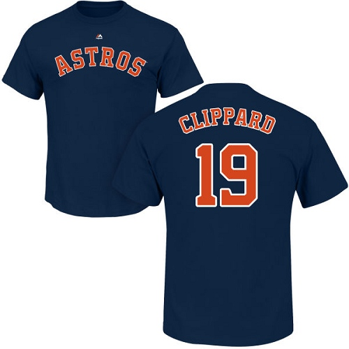 MLB Nike Houston Astros #19 Tyler Clippard Navy Blue Name & Number T-Shirt