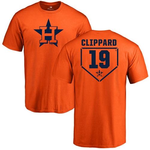 MLB Nike Houston Astros #19 Tyler Clippard Orange RBI T-Shirt