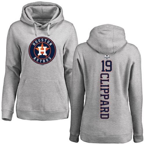 MLB Women's Nike Houston Astros #19 Tyler Clippard Ash Backer Pullover Hoodie