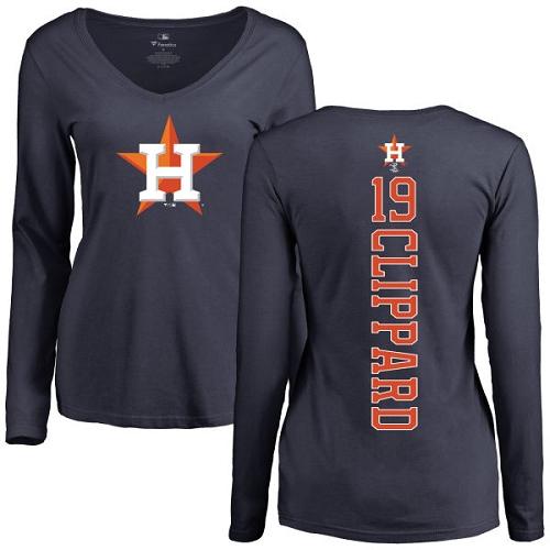 MLB Women's Nike Houston Astros #19 Tyler Clippard Navy Blue Backer Long Sleeve T-Shirt