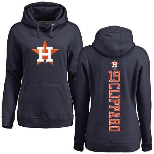 MLB Women's Nike Houston Astros #19 Tyler Clippard Navy Blue Backer Pullover Hoodie