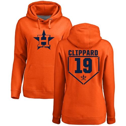 MLB Women's Nike Houston Astros #19 Tyler Clippard Orange RBI Pullover Hoodie