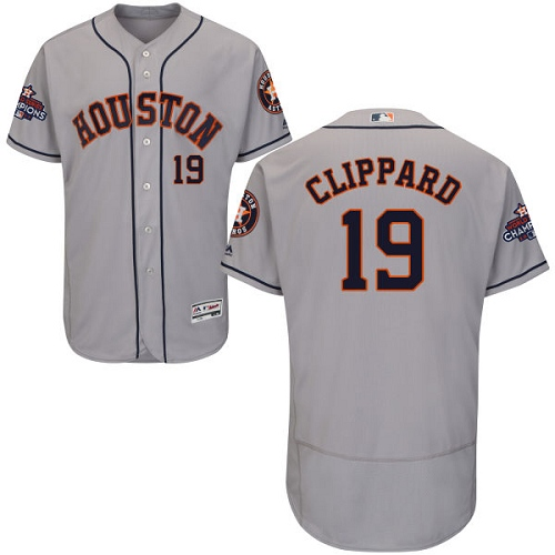 Men's Majestic Houston Astros #19 Tyler Clippard Authentic Grey Road 2017 World Series Champions Flex Base MLB Jersey