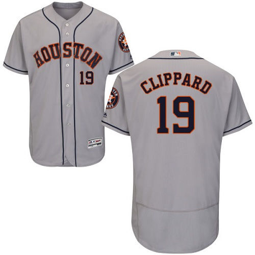 Men's Majestic Houston Astros #19 Tyler Clippard Grey Flexbase Authentic Collection MLB Jersey