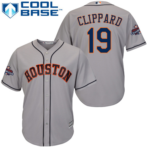 Men's Majestic Houston Astros #19 Tyler Clippard Replica Grey Road 2017 World Series Champions Cool Base MLB Jersey
