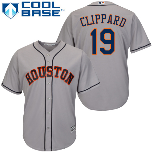 Men's Majestic Houston Astros #19 Tyler Clippard Replica Grey Road Cool Base MLB Jersey
