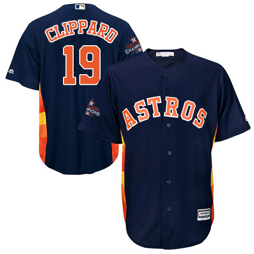 Men's Majestic Houston Astros #19 Tyler Clippard Replica Navy Blue Alternate 2017 World Series Champions Cool Base MLB Jersey