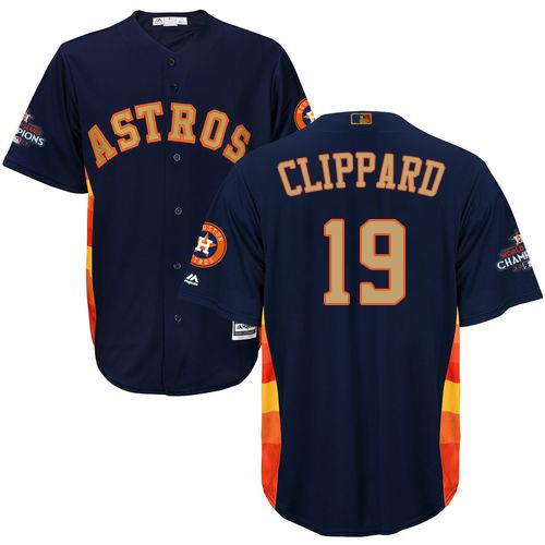 Men's Majestic Houston Astros #19 Tyler Clippard Replica Navy Blue Alternate 2018 Gold Program Cool Base MLB Jersey