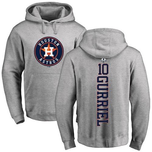 MLB Nike Houston Astros #10 Yuli Gurriel Ash Backer Pullover Hoodie
