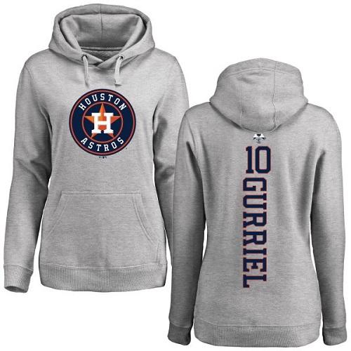 MLB Women's Nike Houston Astros #10 Yuli Gurriel Ash Backer Pullover Hoodie