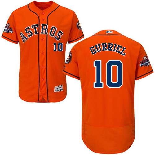 Men's Majestic Houston Astros #10 Yuli Gurriel Authentic Orange Alternate 2017 World Series Champions Flex Base MLB Jersey