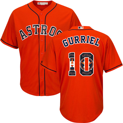 Men's Majestic Houston Astros #10 Yuli Gurriel Authentic Orange Team Logo Fashion Cool Base MLB Jersey