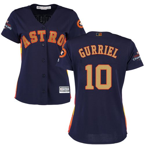 Women's Majestic Houston Astros #10 Yuli Gurriel Authentic Navy Blue Alternate 2018 Gold Program Cool Base MLB Jersey
