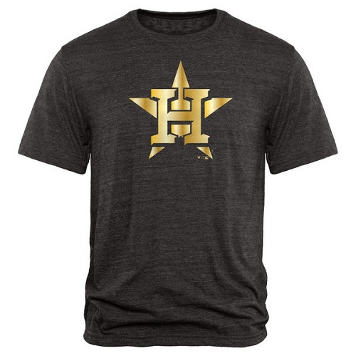 MLB Houston Astros Fanatics Apparel Gold Collection Tri-Blend T-Shirt - Black