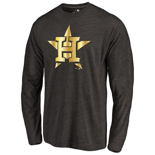 MLB Houston Astros Gold Collection Long Sleeve Tri-Blend T-Shirt - Black