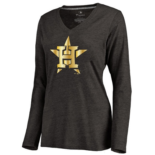 MLB Houston Astros Women's Gold Collection Long Sleeve V-Neck Tri-Blend T-Shirt - Black