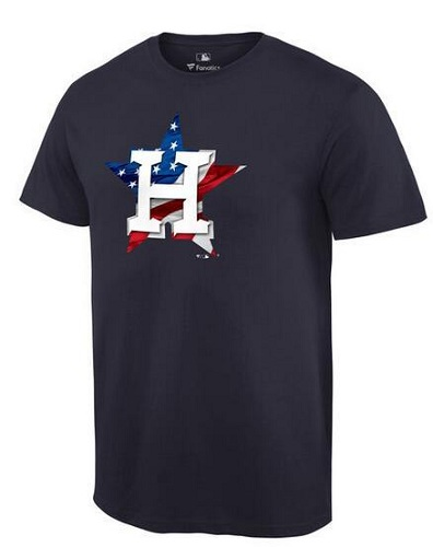 MLB Men's Houston Astros Navy Banner Wave T-Shirt