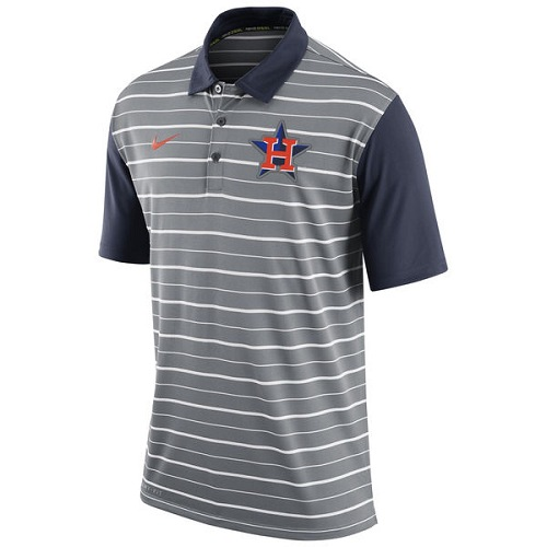 MLB Men's Houston Astros Nike Gray Dri-FIT Stripe Polo