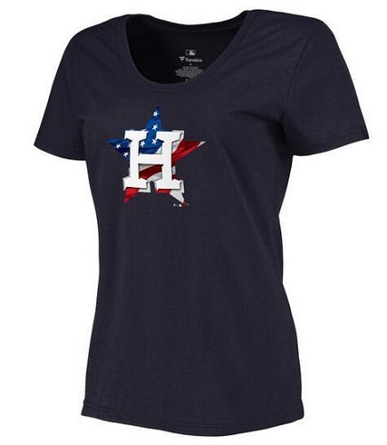 MLB Women's Houston Astros Navy Banner Wave Slim Fit T-Shirt