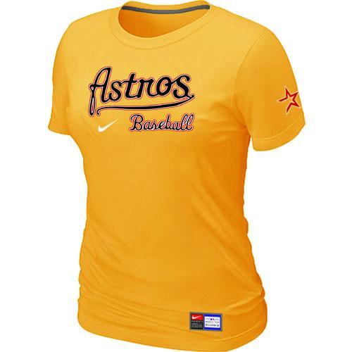 MLB Women's Houston Astros Nike Practice T-Shirt - Yellow
